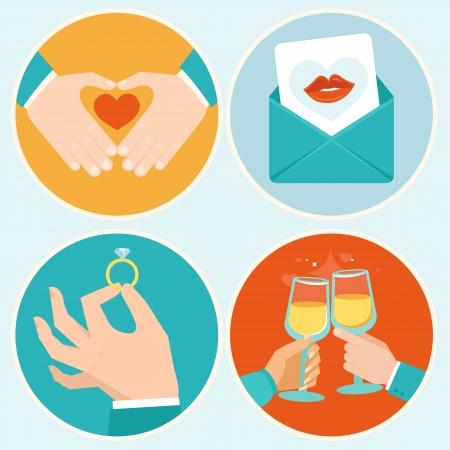 anillo de compromiso: Ilustraciones del vector del día de San Valentín en estilo plano - manos y signos de amor