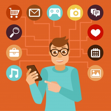 web browsing: Vector man wearing glasses in flat style - social media addiction concept