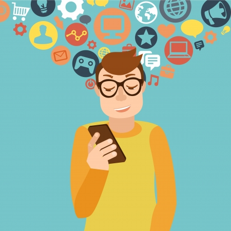 follower: Vector man wearing glasses in flat style - smartphone addiction concept