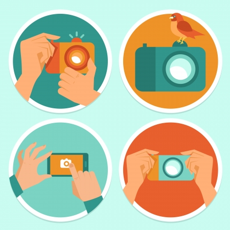 vintage camera: Vector set of flat icons - cameras and mobile photography