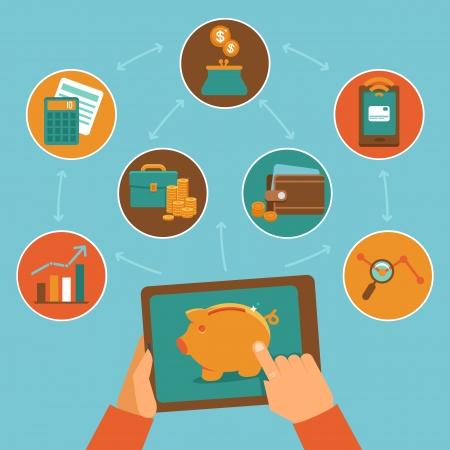 expenses: Aplicaci�n de control financiero en l�nea - vector concepto de estilo plano - el seguimiento de sus ingresos y gastos