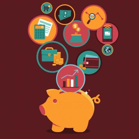 Vecteur personnelles Finances et Contrôle de gestion - icônes et signe dans le style plat Illustration