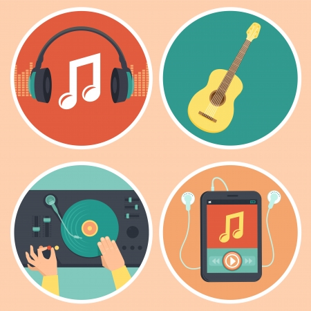 Vector music icons and signs in flat style - headphones, guitar, turntable and mp3 player Illustration