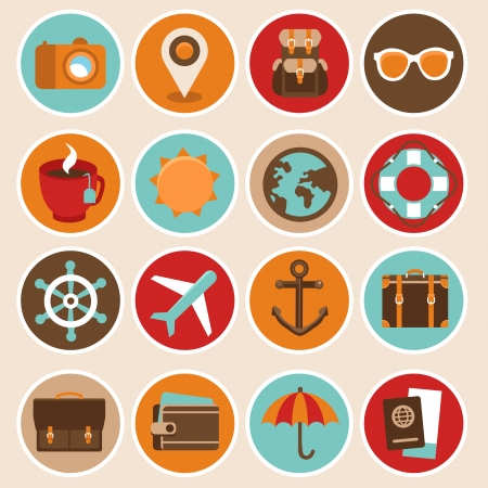 check in: Vector travel and vacation icons in flat style