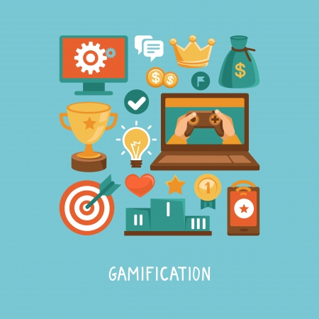gaming: Vector concept in flat style - new trend in online business - gamification  Design elements and icons with rewards and achievement badges Illustration