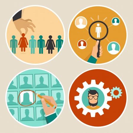 Vector human resources concepten en iconen - hand houden vrouwenpictogram - in vlakke stijl