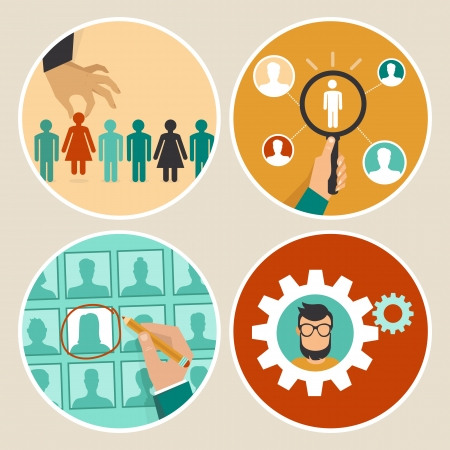 human resources: Vector  human resources concepts and icons  - hand holding woman icon - in flat style