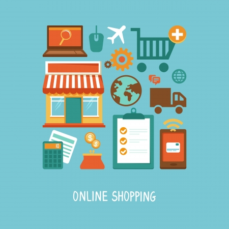 purchase order: Vector e-commerce icons and signs in flat style - online shopping and internet