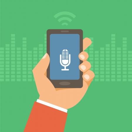 Teléfono móvil del vector en estilo plano - concepto de la tecnología de control de voz Vectores