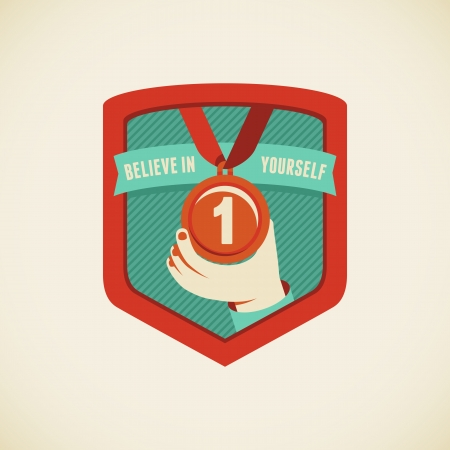 positiveness: Vector badge in flat style - believe in yourself Illustration