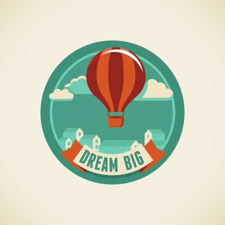 Vector badge in flat style - dream big Stock Vector - 25253573