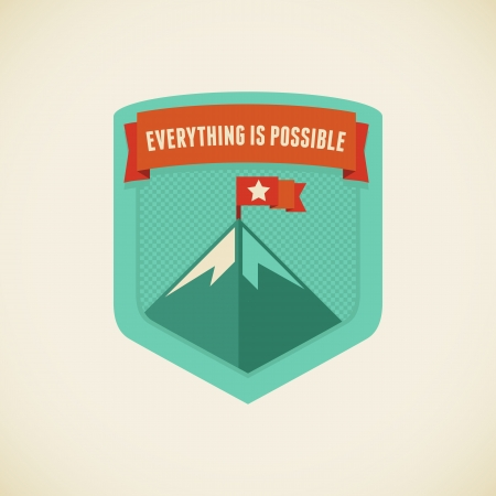 sentence: Vector badge in flat style - Everything is possible Illustration