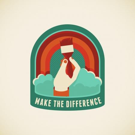 positiveness: Vector insignia de estilo plano - Hacer la diferencia