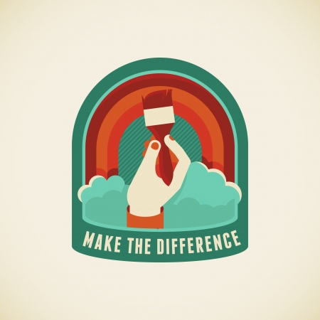 věta: Vector odznak v plochém stylu - Make rozdíl