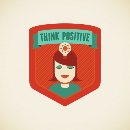 positiveness: Vector badge in flat style - Think positive Illustration