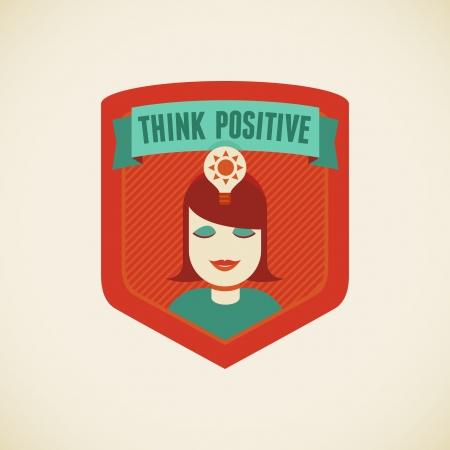 positiveness: Vector insignia de estilo plano - Piensa en positivo