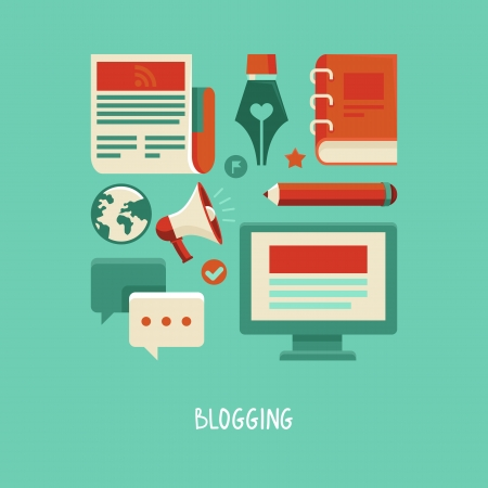 concept in flat style with trendy icons - blogging and writing for website