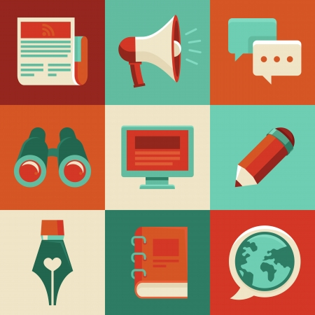 concept in flat style with trendy icons - blogging and writing for website Stock Vector - 25365807