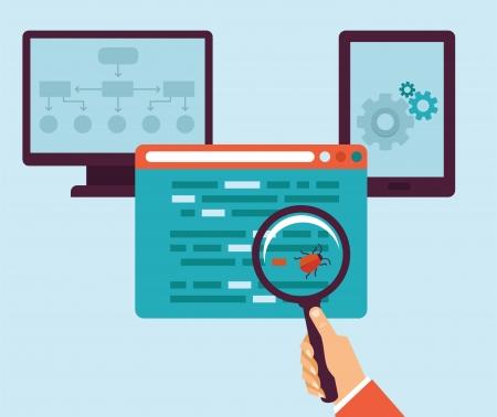 平らなレトロなスタイル - バグとウイルスのプログラミング コードの概念  イラスト・ベクター素材