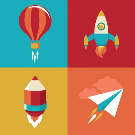 launch vehicle: icons in flat style - start up and launch. Trendy Illustrations for new businesses, innovation and development