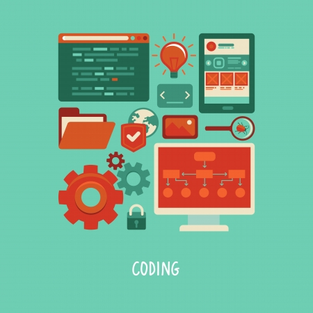 concept in flat style with trendy icons - website development and coding. Tools and symbols - programming and prototyping Vector