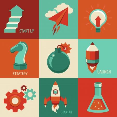 escalera: conceptos e iconos de estilo plano - la puesta en marcha y r�tulos de la innovaci�n y s�mbolos. Lanzamiento y de partida.