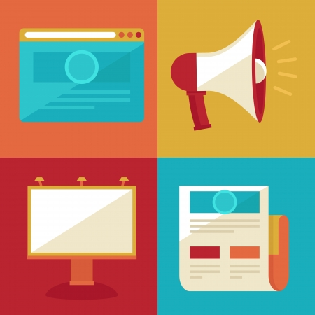 Vector advertising and promotion concepts and icons in flat retro style