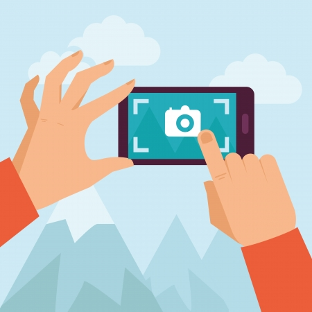 share icon: Vector mobile phone with touchscreen - man taking photograph with digital device - flat icon Illustration