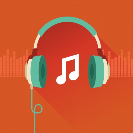 headphones: Vector flat concept - headphones and musical note