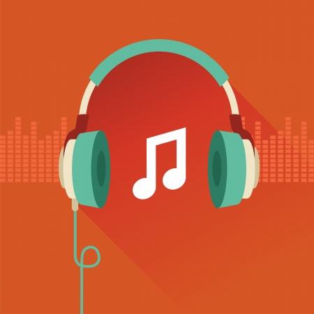 Vector platte concept - een koptelefoon en muzikale noot Stock Illustratie