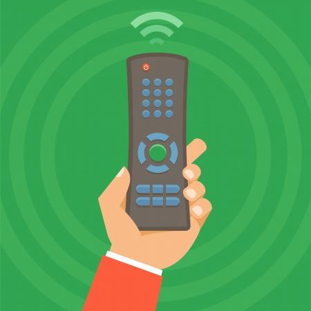 remote control: Vector remote control concept - icon in flat style