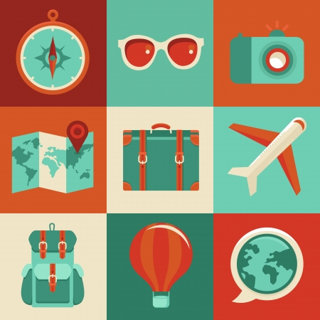 Vector icons and concepts in flat style - travel and vacation, Trendy banners and signs - summer and journey Vector