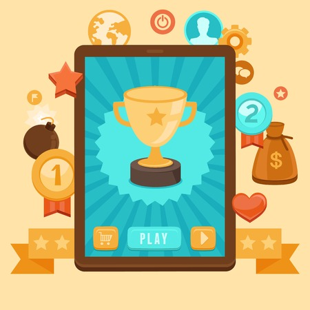 Vector gamification concept - digital device with touchscreen and game interface on it with award and achievement icons on background