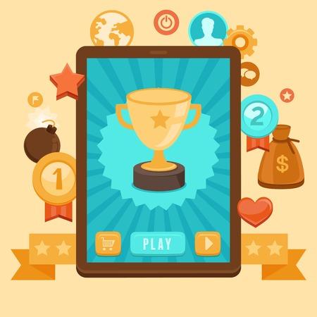 Vector gamification concepto - dispositivo digital con pantalla táctil y la interfaz de juego en él con el premio de logro y de iconos en el fondo Vectores