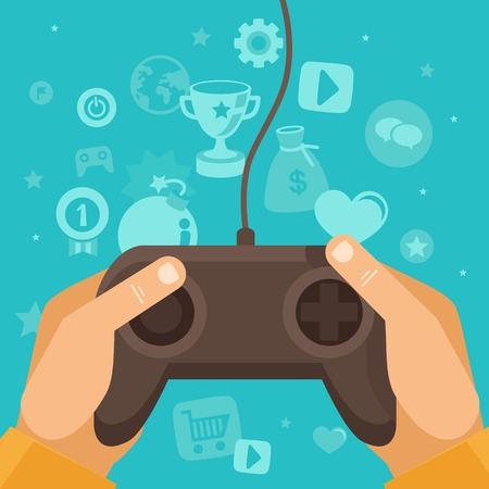 Vector online game concept - hands holding joystick with wire and gamification icons in flat style on blue background