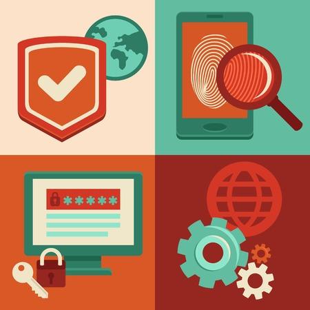 autorizacion: Vectoriales conceptos de seguridad de Internet e iconos de estilo plano - Identificaci�n y protecci�n con contrase�a, huella digital y antivirus