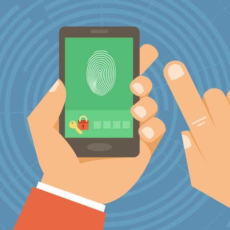 dactylogram: Vector security concept in flat style - hand holding mobile phone with touchscreen and fingerprint on it - user identification and data protection Illustration