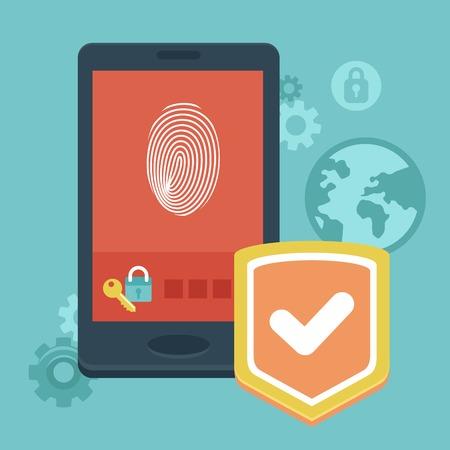 ベクトル携帯電話セキュリティ - フラットなスタイルのアイコンを持つコンセプト - データ保護とユーザー識別