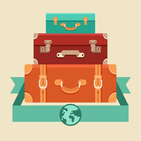 vintages: Vector travel concept in flat style - stack of vintages suitcases
