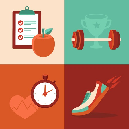 Vector fitness icons in flat trendy style - healthy food and training Illustration