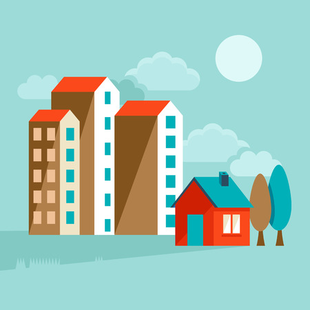 sell house: Vector icons and concepts in flat trendy style - houses illustrations and banners for real estate websites and brochures