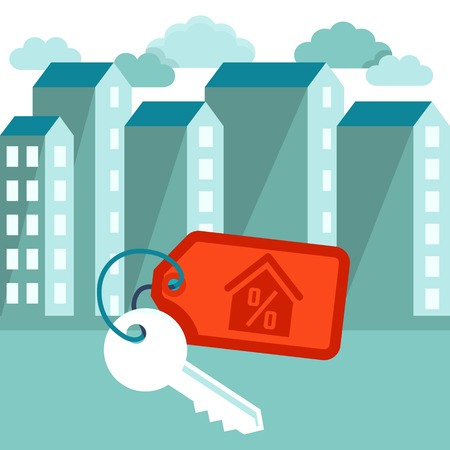 hospedaje: Ilustración del vector en estilo de moda plana - concepto de hipoteca - alberga iconos y teclas con etiqueta
