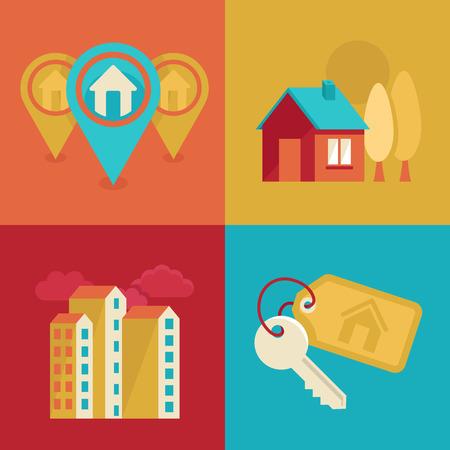 hospedaje: Vector iconos y conceptos de estilo de moda plana - casas ilustraciones y banners para inmobiliarias