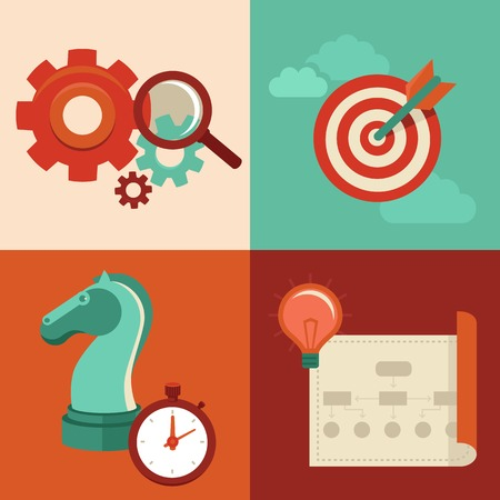 Vector strategy concept in flat trendy style - gear icons and magnifier, target, chess knight and stopwatch, creative plan Vector
