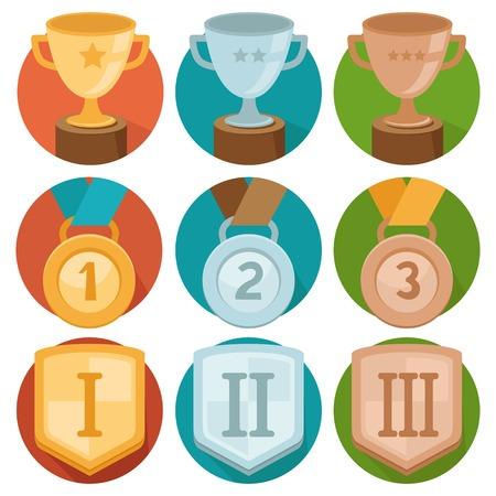 primer lugar: Iconos Vector gamification en el estilo de moda plana - tres lugares ganadores de oro, plata y bronce - taza, medalla y shiled Vectores