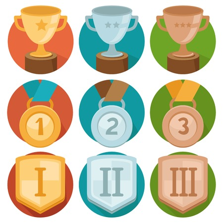 Vector gamification icons in flat trendy style - three winning places in gold, silver and bronze - cup, medal and shiled Vector