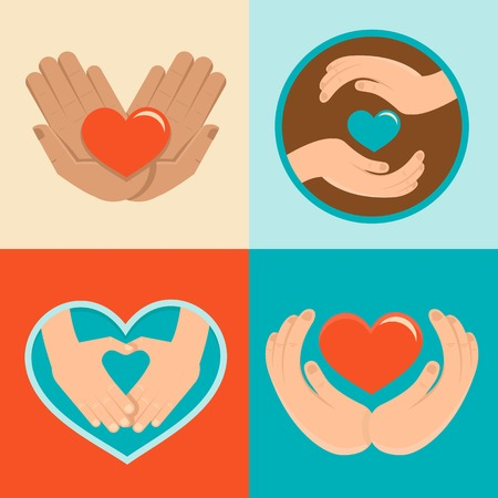 Vector signs and symbols in flat style - symbols of love and care for charity organizations and volunteers