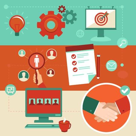 procedimiento: Infografías empleo Vector elementos de estilo plano - recursos humanos y contratación Vectores
