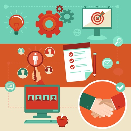 Vector employment infographics elements in flat style - human resources and hiring
