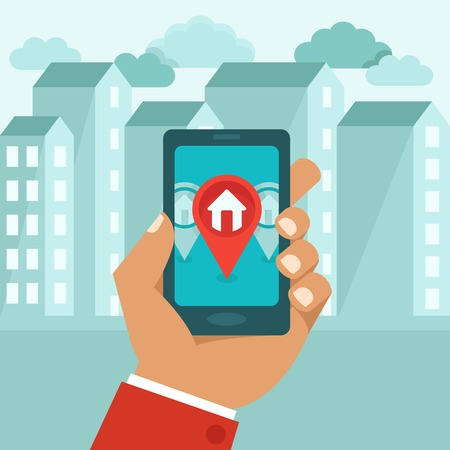 estate: Vector flat concept - hand holding mobile phone with gps app on the screen - searching for a house